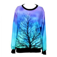 Gradient Dead Tree Printed Sweatshirt