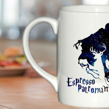 espresso patronum harry potter in galaxy  custom cup for family and friends mug