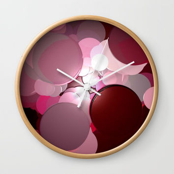 Merlot Texture Bubble Pattern Wall Clock by Sheila Wenzel