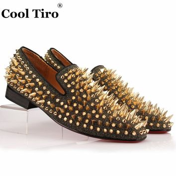 COOL TIRO Studs Red Bottom Loafers Men Flats With Spikes and Diamonds