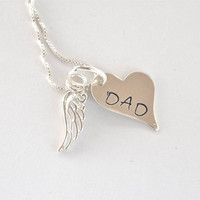 Memory Necklace with Angel Wing- Hand-stamped Memory Necklace