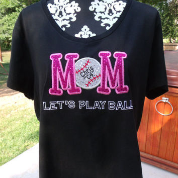 BASEBALL / SOFTBALL MOM..... Personalized Embroidered Womens T-Shirt, U Pick Colors & Name
