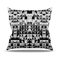 "Nika Martinez ""Geometrie Black & White"" Gray Throw Pillow"