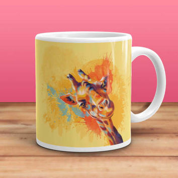 Hello, Giraffe Coffee Mug - animal mug, giraffe illustration, giraffe mug, animal lovers gift, colorful mug, funny mug, cute mug, home decor