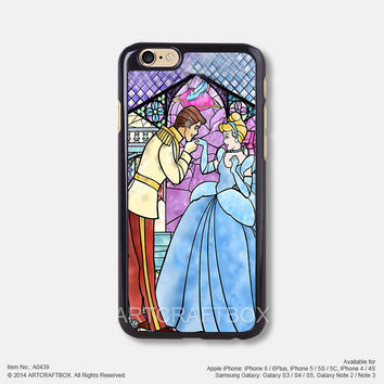 Cinderella Disney princess stained glass iPhone 6 6Plus case iPhone 5s case iPhone 5C case iPhone 4 4S case Samsung galaxy Note 2 Note 3 Note 4 S3 S4 S5 case 439