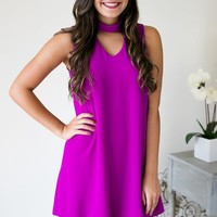 Cut It Out Magenta Dress