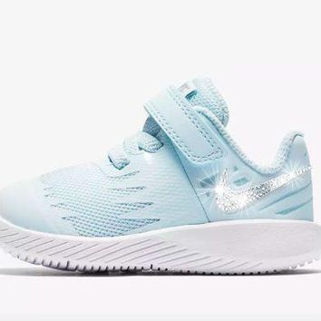 PEAPE Girls' Nike Star Runner - Crystallized Swarovski Swoosh - Infant/Toddler (2C-10C) - Glacier Blue