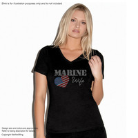 "Rhinestone Iron On Transfer ""Marine Wife"" Bling Design with USA flag heart"