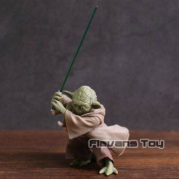 Star Wars Force Episode 1 2 3 4 5  Jedi Knight Yoda with Lightsaber Mini PVC Action Figure Collectible Model Toy AT_72_6