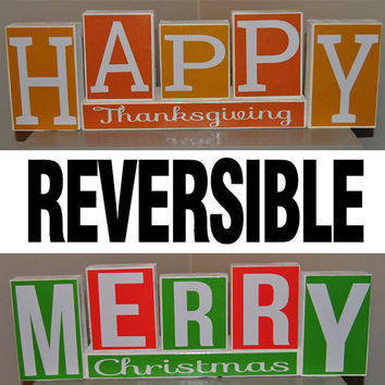 Reversible Happy Thanksgiving/Merry Christmas Decorative Blocks
