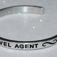 I Love Being A Travel Agent  |  Engraved Handmade Bracelet by: Say It and Wear It Jewelry