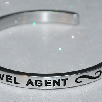 I Love Being A Travel Agent     Engraved Handmade Bracelet by: Say It and Wear It Jewelry
