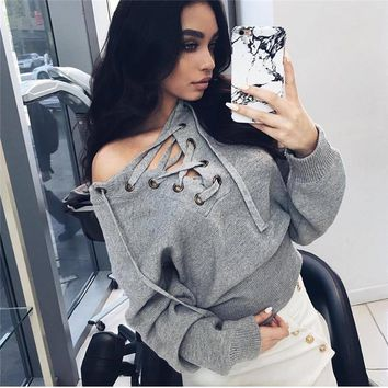 Pullovers Women Real Europe And The New Winter 2016 V Deep Sexy Strapless Chest Bandage Sleeve Knit Wear Sweater Female Tide