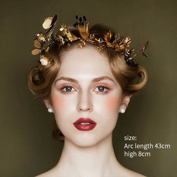 Baroque Gold Leaf Black Rhinestones Tiara Crown Butterfly Designs Cosplay