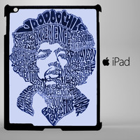 Jimi Hendrix Song Titles Collage iPad 2, iPad 3, iPad 4, iPad Mini and iPad Air Cases