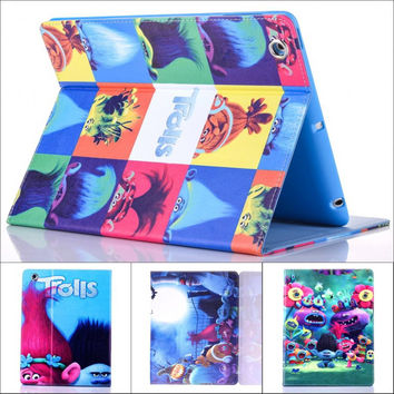 Fashion Movie Cute cartoon Trolls Poppy Branch pu leather Stand holder case cover for ipad mini 2 for ipad mini 3 + screen film