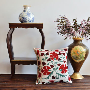 Vintage Floral Hand Embroidered Suzani Pillow Cover - Decorative Pillow - Red Suzani Pillow