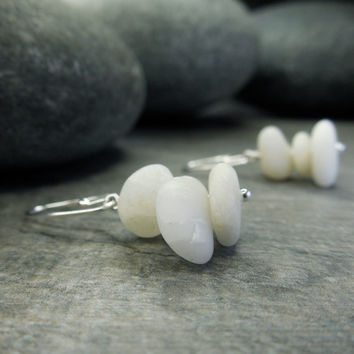 Zen Stone Earrings  Mindfulness Jewelry Tiny Beach Pebbles Sterling Silver Petite Dangle Neutral White Natural Organic ContemporaryZen