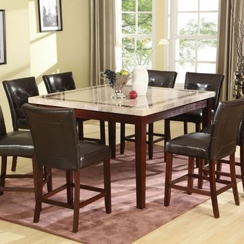 7 pc Earline collection walnut finish wood white marble with brown insert top counter height dining table set with vinyl padded seats