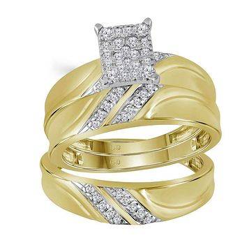 10k Gold Diamond Cluster Matching Trio His & Hers Wedding Ring Set - FREE Shipping (US/CA)