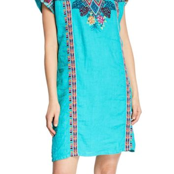 Johnny Was Women's Quinn Shift Tunic Dress Lanai Azure