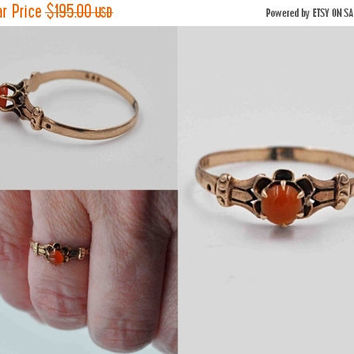 ON SALE Antique Victorian 9CT Yellow Gold & Red Carnelian Ring, 9K Yellow Gold, Buttercup, Chased, Ornate, Size 7 1/2, Lovely! #b790