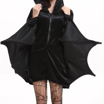 Child AdultsAnimal Cosplay Cute Bat Costume Kids Halloween Costumes For Girls Black Zipper Jumpsuit Connect Wings Batman Clothes