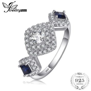 JewelryPalace Beautifully Square Created Sapphire 3 Stones Ring 925 Sterling Silver Bridal Wedding Jewelry Anniversary Gifts