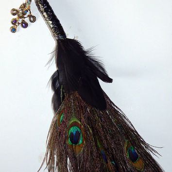 Feather Besom Broom or Smudging Wand - Peacock and Black Duck