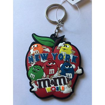 M&M's World I Love New York Apple Keychain New with Tags