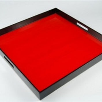 Red Tulipwood and Black Lacquer Serving Tray