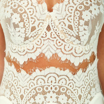 White Bombshell Lace Slip Maxi Dress - LoveCulture