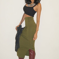Emma Bodycon Midi Skirt - Olive