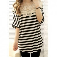 Exquisite Lace Crochet Collar Batwing Short Sleeve Stripes T-Shirt For Women