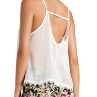 Sheer Strappy Back Lace-Trim Tank Top by Charlotte Russe