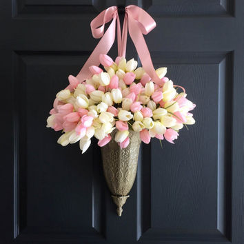Spring Tulips Door Container Wreath - Spring Front Door Decoration - WREATHS - Easter Decorations - Door Decor - Wreaths