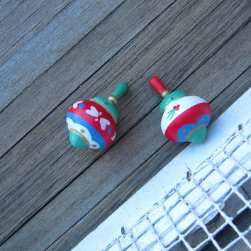 Pair of Vintage Handpainted Toy Tops - Folkloric Wooden Spinning Top Ornaments - Folkloric Christmas Ornament - Folkloric Holiday Prairie