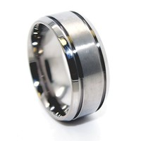 9mm Titanium Satin Center Ring Wedding Band (Available in Sizes 5-17)