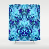 Aqua and Cobalt Magic Shower Curtain by  #RokinRonda