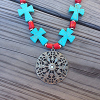 Handmade chunky western necklace with turquoise crosses. Bullet jewelry