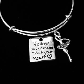 Ballerina Follow Your Dreams Trust Your Heart Ballet Inspirational Jewelry Adjustable Silver Charm Bracelet Expandable Wire Bangle Gift Trendy One Size Fits All