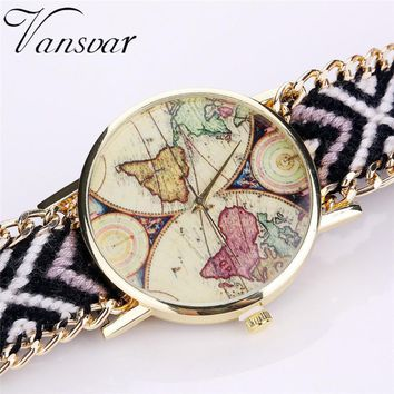 Handmade Ladies Vintage Quartz Watch World Map Watches