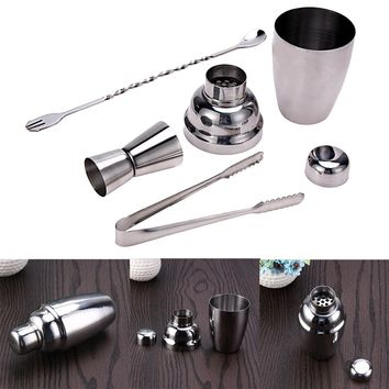 4Pcs Cocktail Shaker Stainless Steel 250ml Silver Cocktail Shaker Set WineTools Bar Sets With Mixing Spoon,Jigger and Muddler