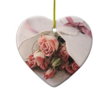 rose with linens heart ornament