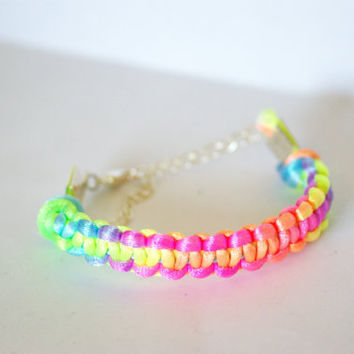 Neon pastel Friendship Bracelet with Silver Clasp - Adjusts to fit any wrist