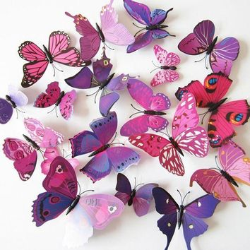 ac PEAPO2Q 12 Pcs/Lot PVC Butterfly Decals 3D Wall Stickers Home Decor Poster for Kids Rooms Adhesive to Wall Decoration Adesivo De Parede