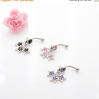 Black Friday Deal Navel Belly Button Ring Barbell Clear Rhinestones naval dangle black, pink, purple star belly ring