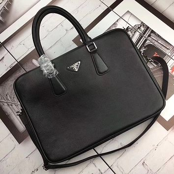 PRADA MEN'S LEATHER BRIEFCASE BAG CROSS BODY BAG