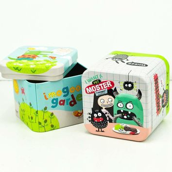 Square Christmas Storage Box Colorful Catton Tea Candy Tin Cans Metal Gift Box