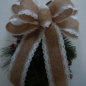 Vintage Lace Burlap Wedding Bow Southern Wedding Burlap Lace Pew Bow Rustic Burlap Lace Wedding Pew Bow Burlap Gift Wrap Bow